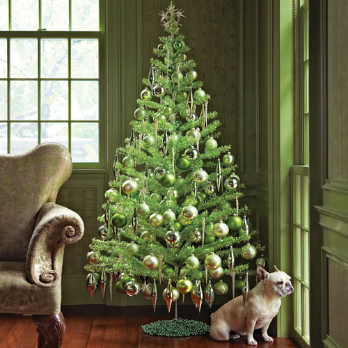 green christmas tree with bulldog by window