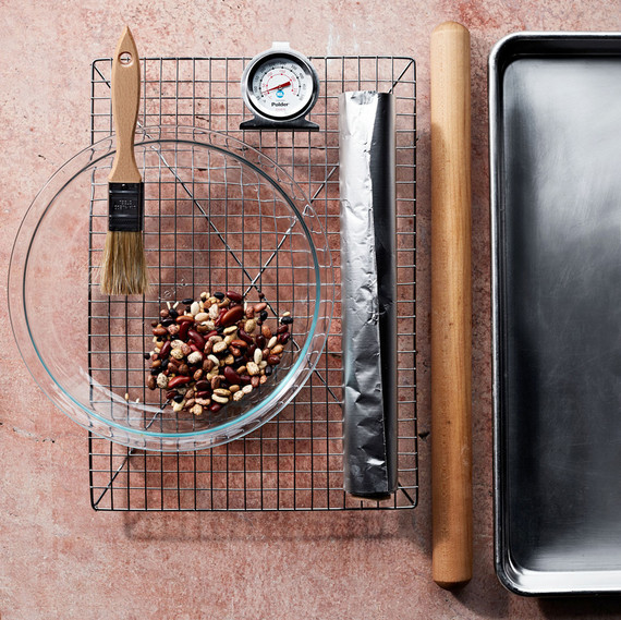 tools used for baking pies layed out