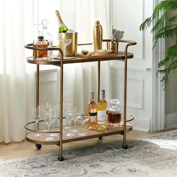 martha stewart collection barware and bar cart