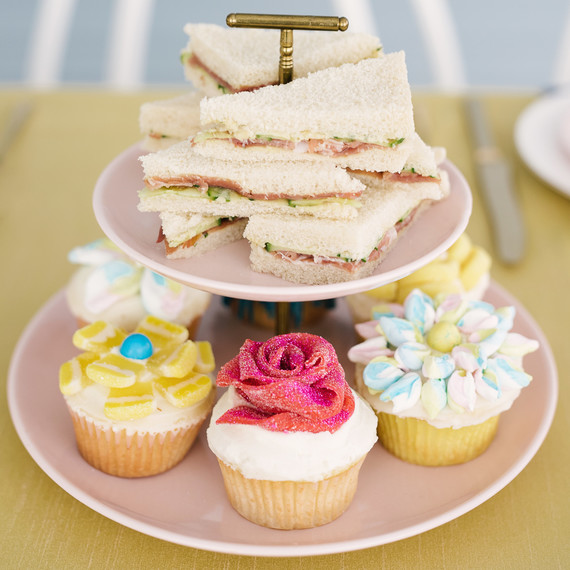 beauty and the beast baby shower cupcakes and sandwiches