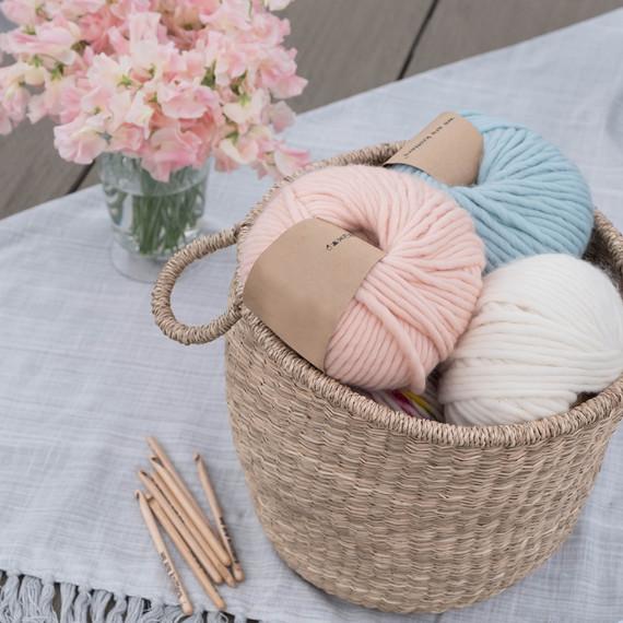 crochet rose party yarn basket