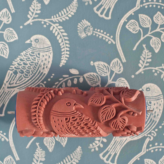 patterned paint roller with birds design