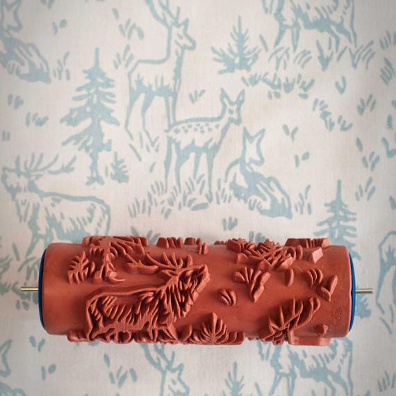patterned paint roller with deer design