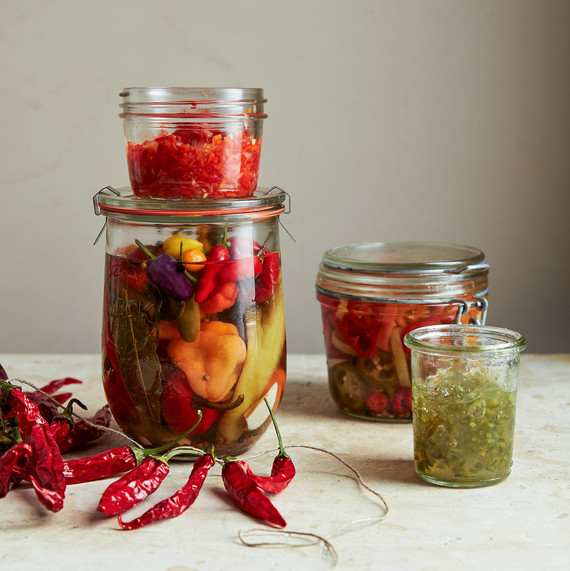 jars of preserved peppers