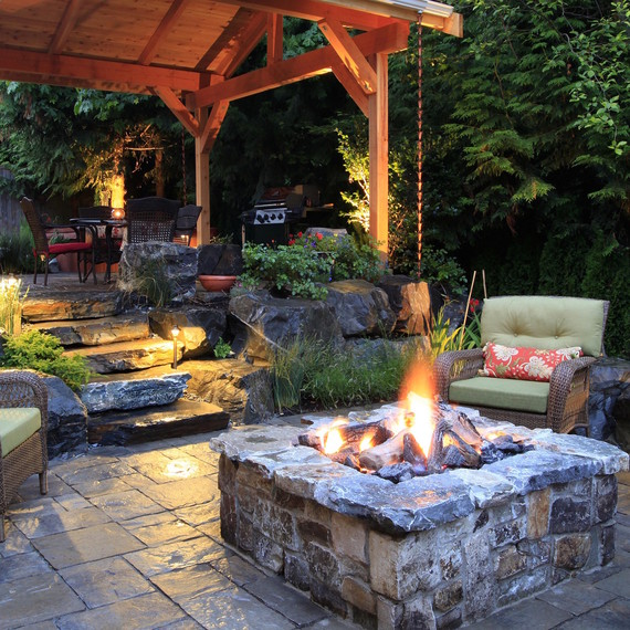Outdoor Firepit Part - 21: Stacked Stone Fire Pit