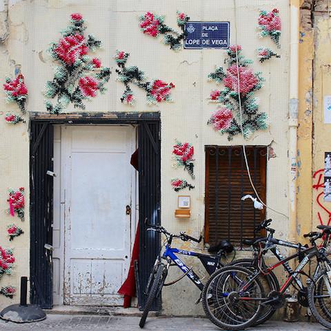 Raquel Rodrigo's cross-stitched street art