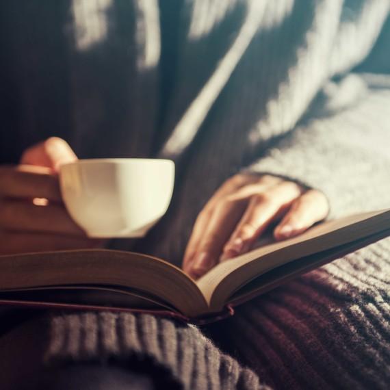 reading book cozy fall