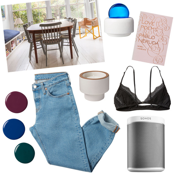 tastemaker products jeans chairs bralette book candle paint