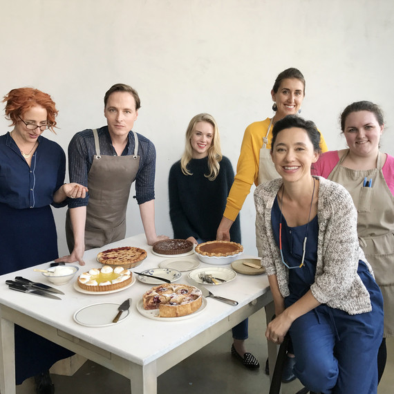 test kitchen editors with their pies