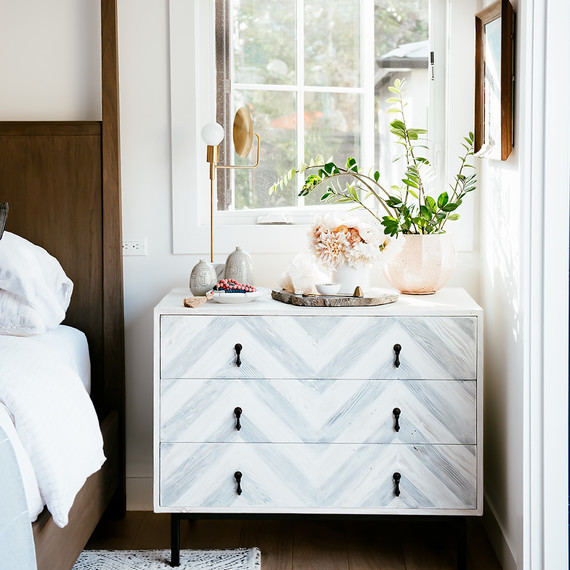 bedroom dresser sidetable with gray chevron paint