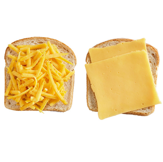 cheese on bread slices
