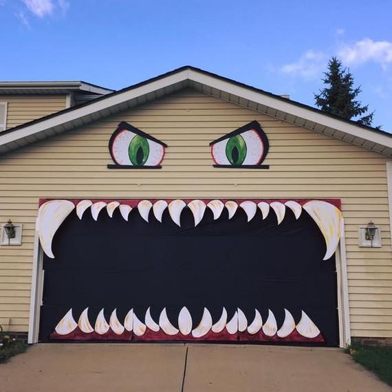 A garage door turned into a Halloween monster