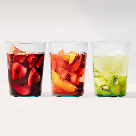 red pink white sangria glasses