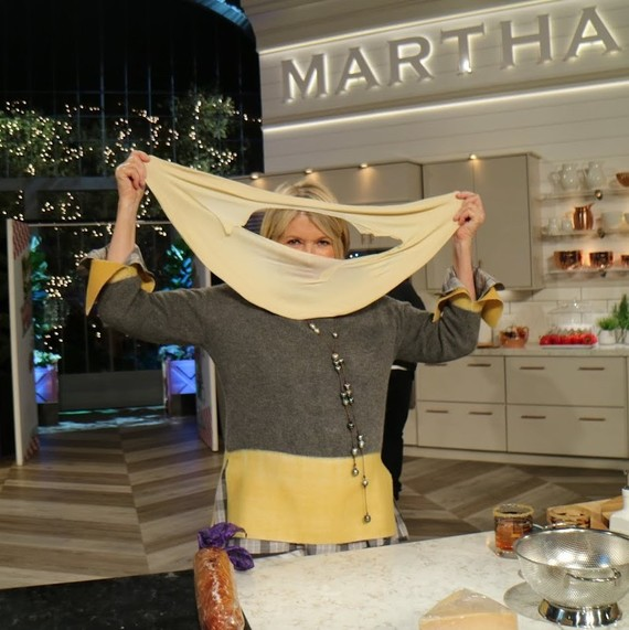 Martha stretching dough on cooking show