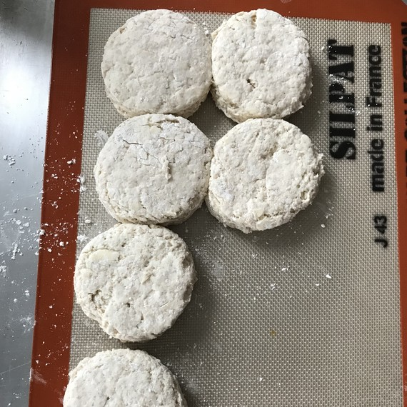 rounds of cathead biscuit dough