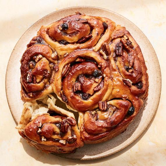 apple pecan rolls on tan plate