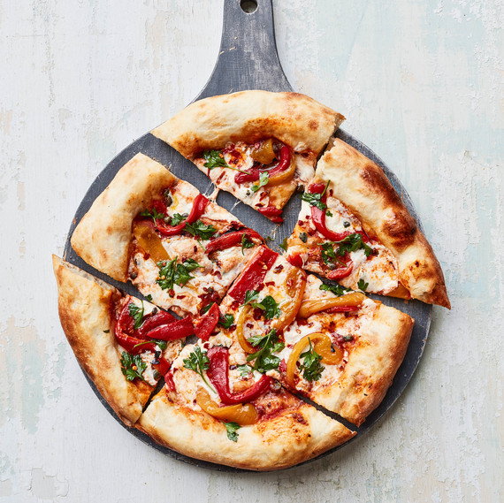 Pan-Bagnat Pizza individual slices on grey board