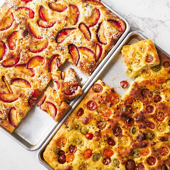 tomato focaccia bread and plum focaccia