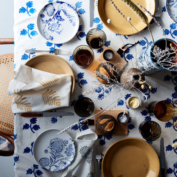 blue thanksgiving table spread table setting