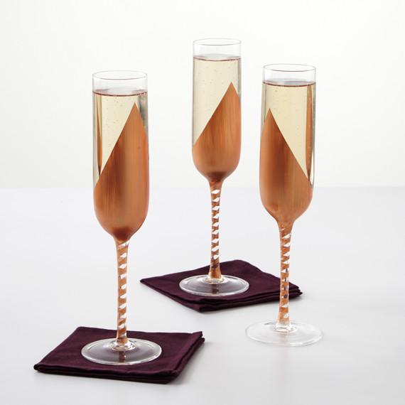copper champagne glasses flutes
