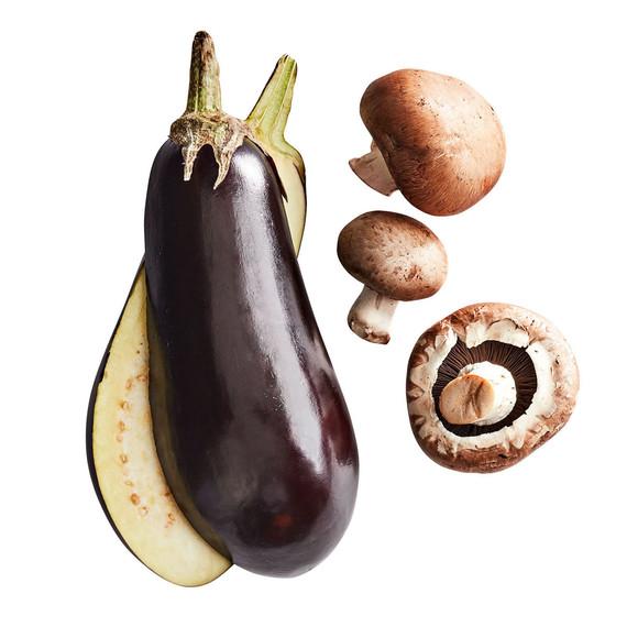 sliced eggplant and mushrooms for lasagna