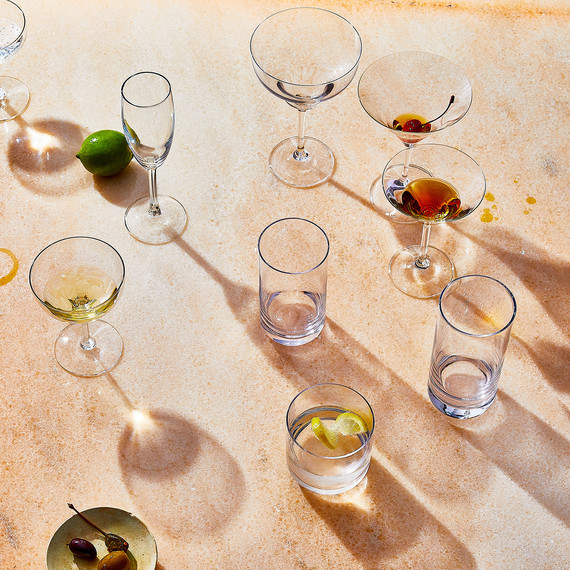 glass glossary group of different types with drinks