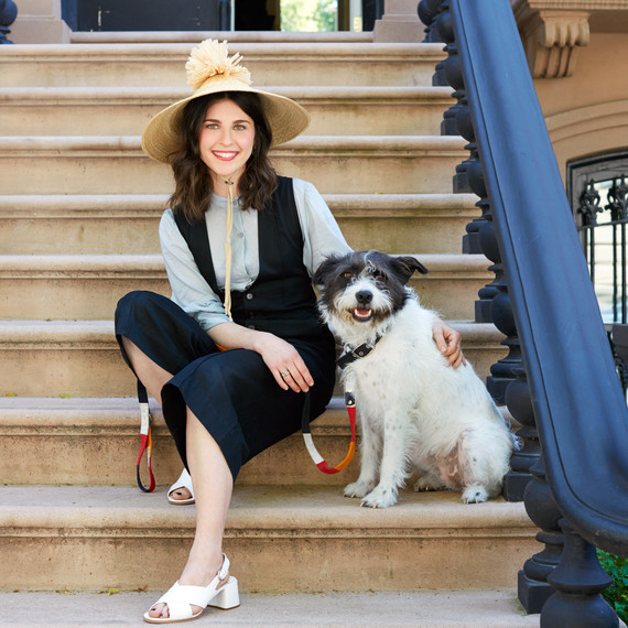 julia sherman portrait with dog on steps