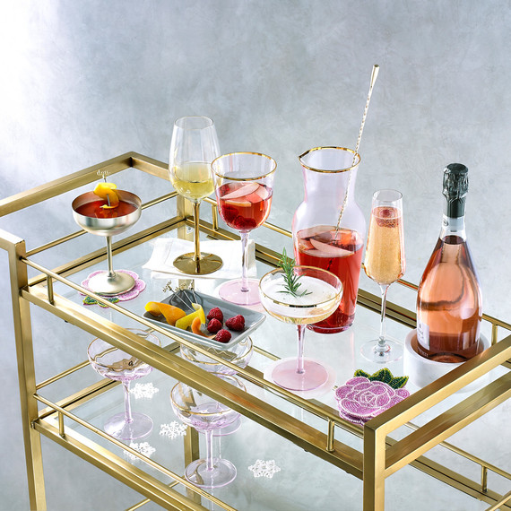 martha stewart collection royal blush collection on gold bar cart