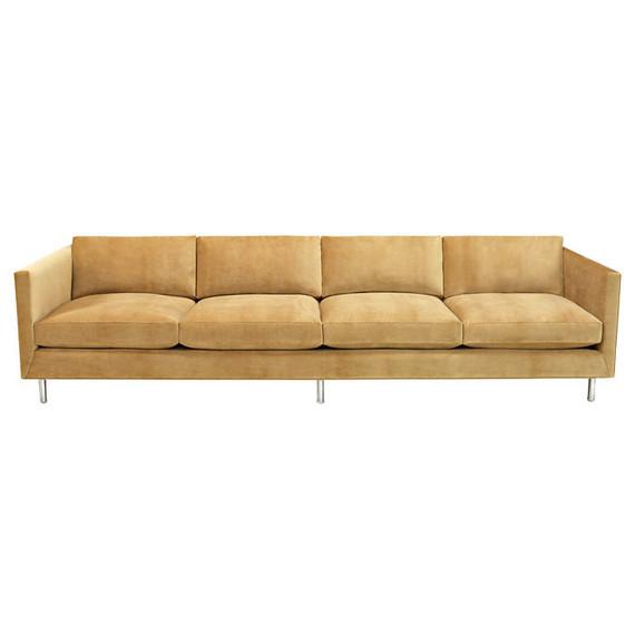 gold midcentury sofa