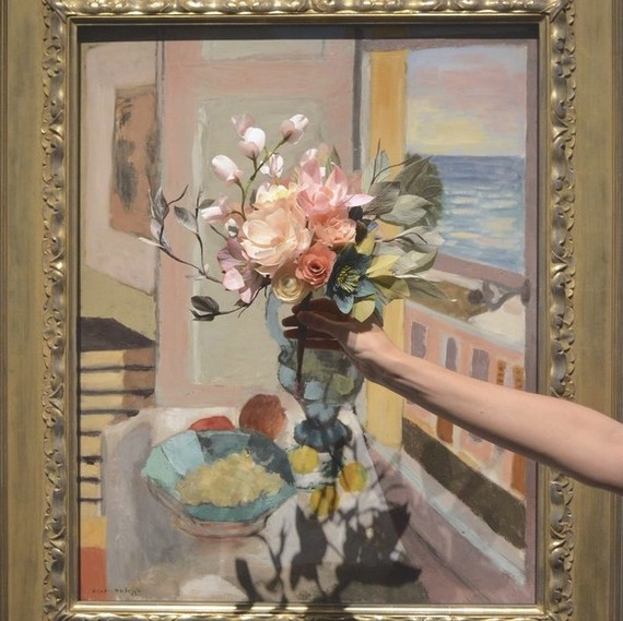 Matisse inspired -  Flowers in front of a window