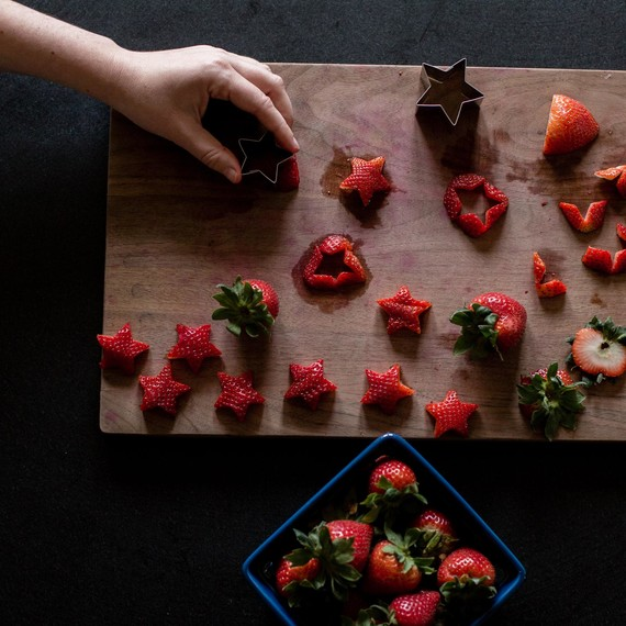 Cut the strawberries with a small star cookie cutter