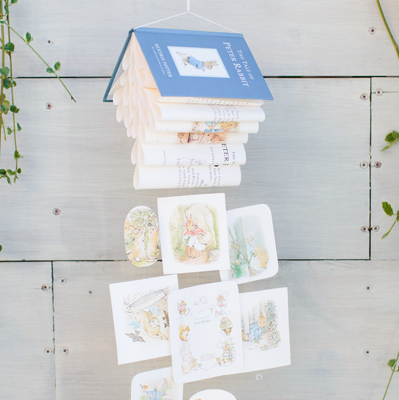 A Peter Rabbit book mobile at a themed baby shower.