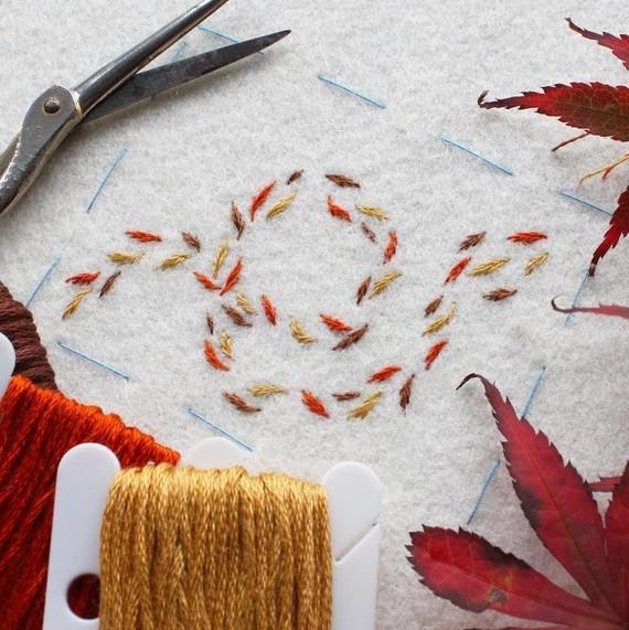 embroidery leaves mini halloween