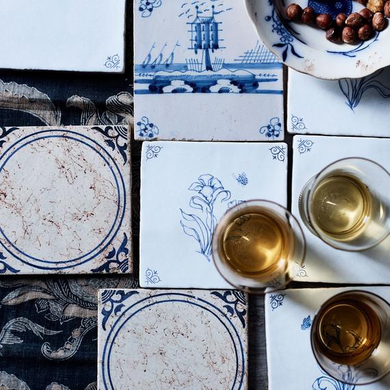 blue thanksgiving place setting table setting