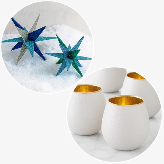 glitter votive stars