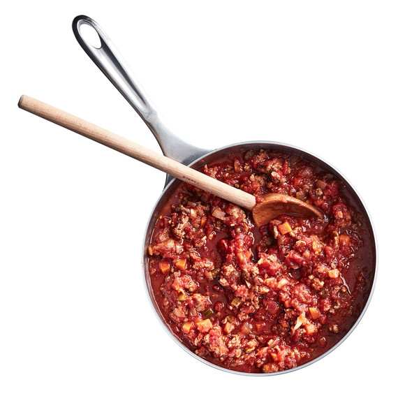 lasagna meat sauce in pan