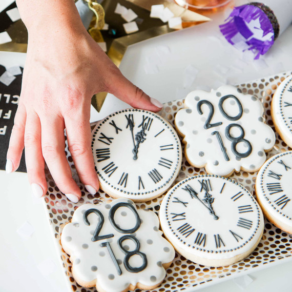 new years eve party disco desserts cookies close up