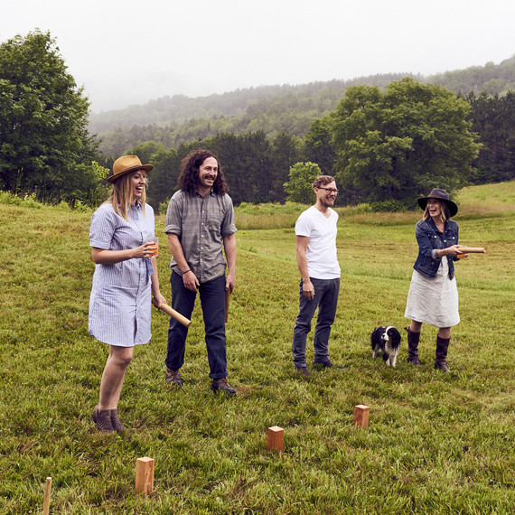Sas Stewart and friends playing croquet