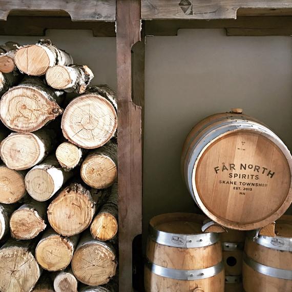 far north distillery barrels and logs