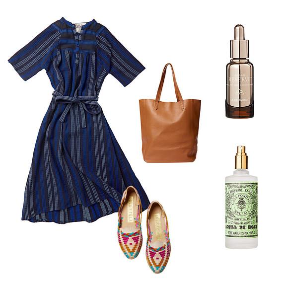 dress sandals leather bag perfume