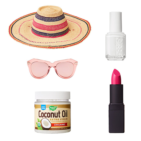 sun hate sunglasses coconut oil nail polish lipstick