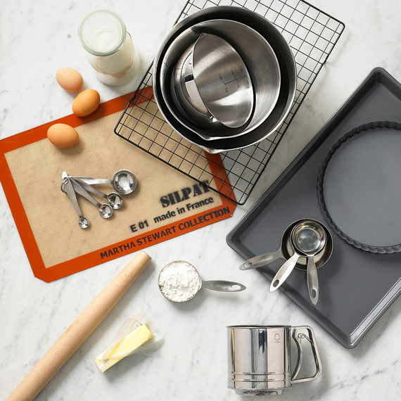 martha stewart collection baking tools on marble countertop