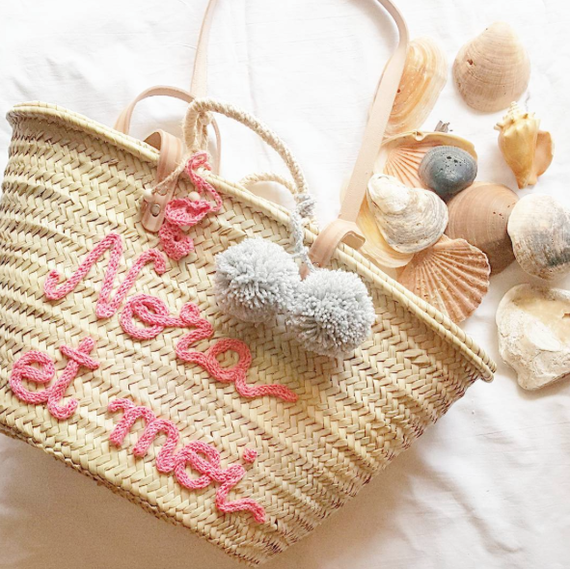 knit letters on beach bag
