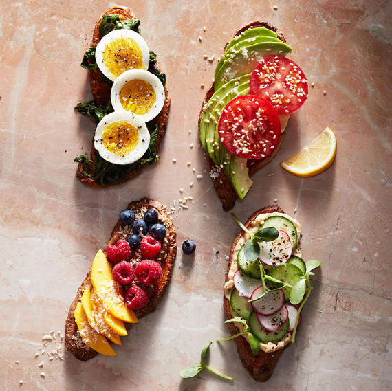 sweet potato toasts topped with fruits and vegetables