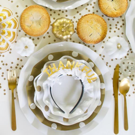 friendsgiving dessert table crowns