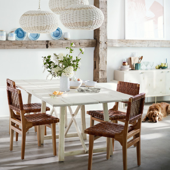 farmhouse dining table with leather chairs