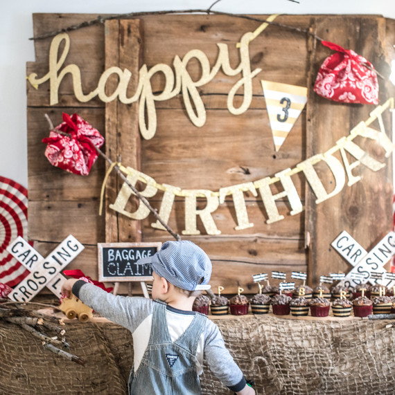 little boy train birthday party