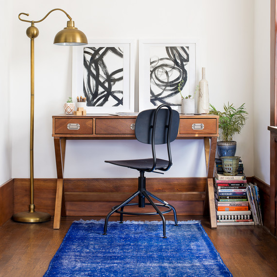 revival rug in office blue