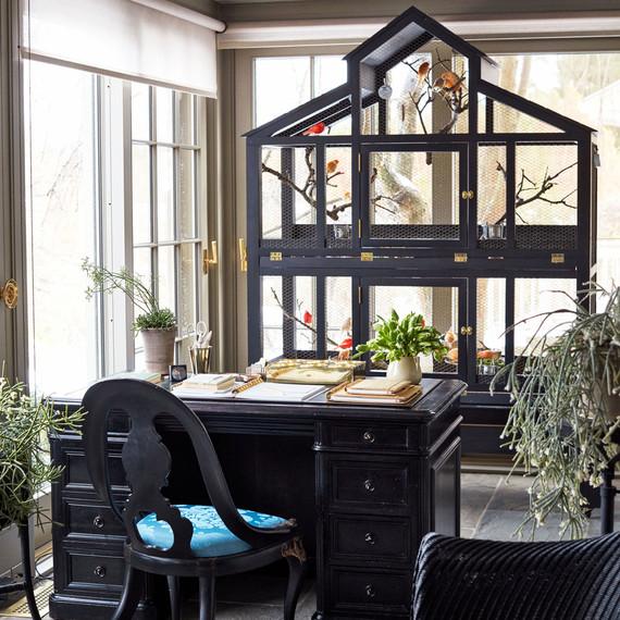 办公室带桌子的黑色金丝雀笼