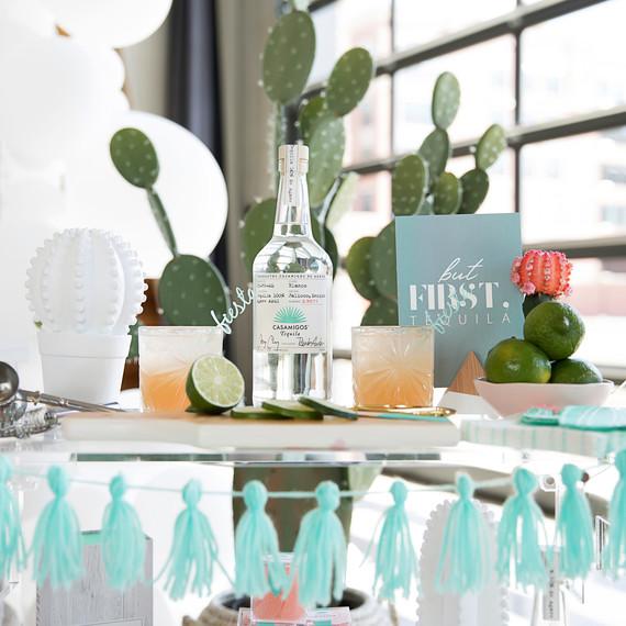 cinco de mayo floral fiesta cacti drink station table